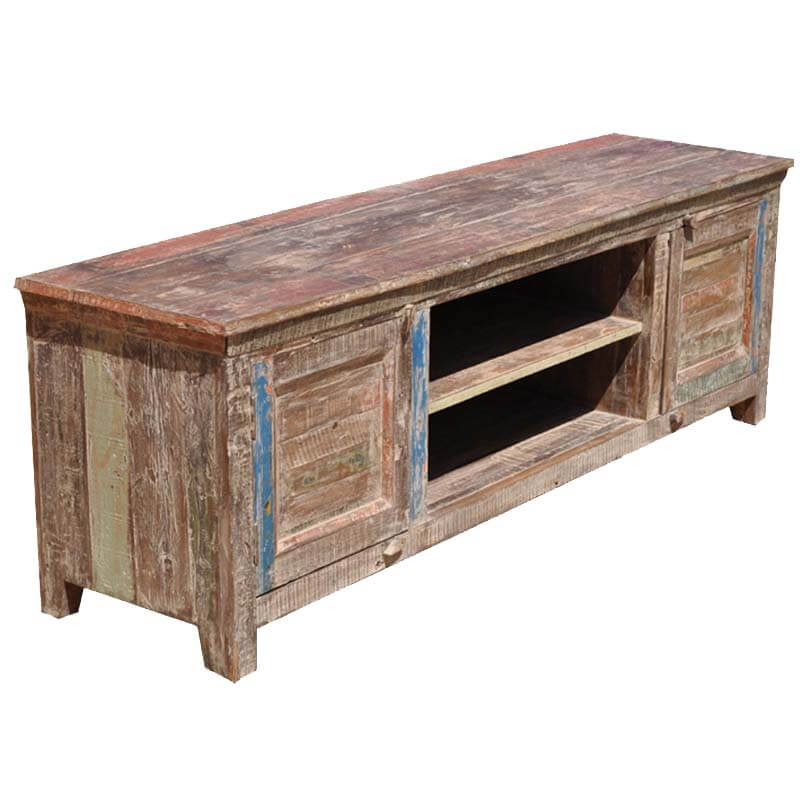 Distressed tv console distressed wooden console tables for Barnwood media cabinet