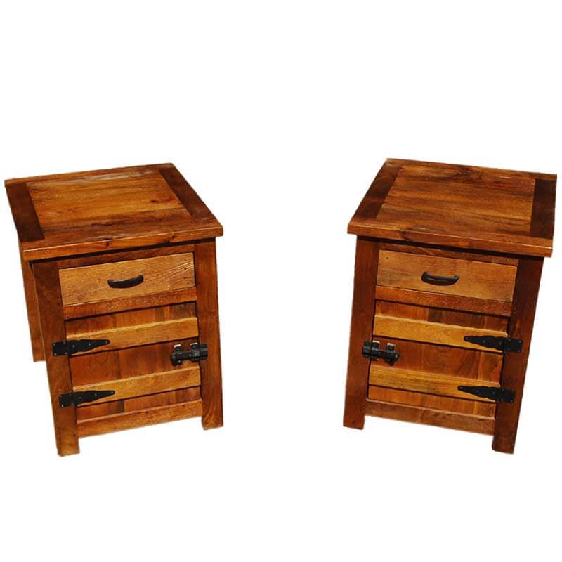 solid wood bedside box night stand end table twin set set of 2. Black Bedroom Furniture Sets. Home Design Ideas