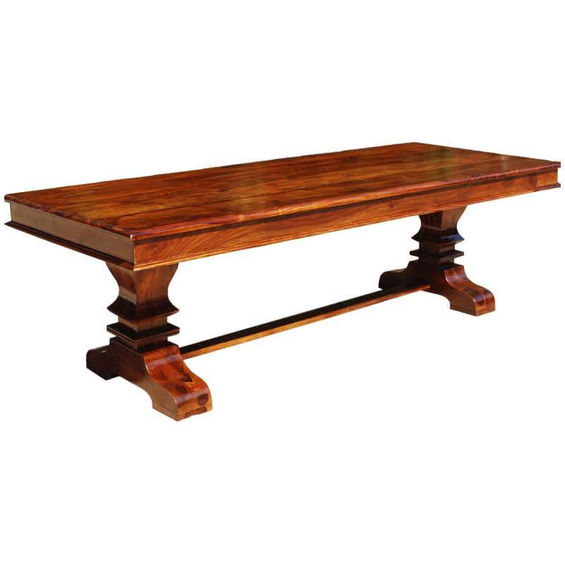 Tiraspol solid wood trestle pedestal large rectangle for Pedestal trestle dining table plans