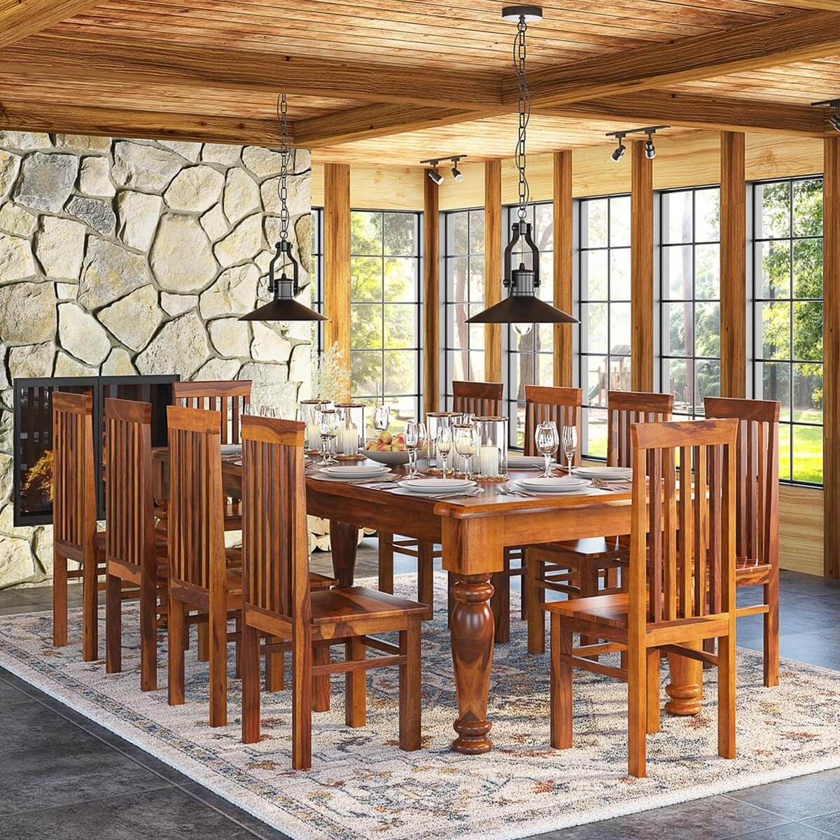 Rustic furniture solid wood large dining room table for Wood dining table set