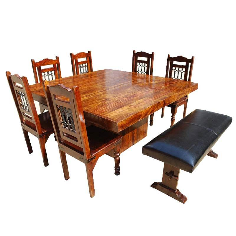 Dining Set With Benches: Solid Wood Square Pedestal Dining Table & Chair Set W Bench