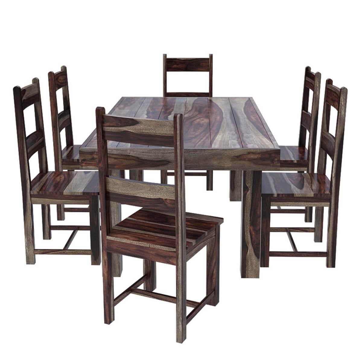 Frisco modern solid wood casual rustic dining room table for Wood dining table set