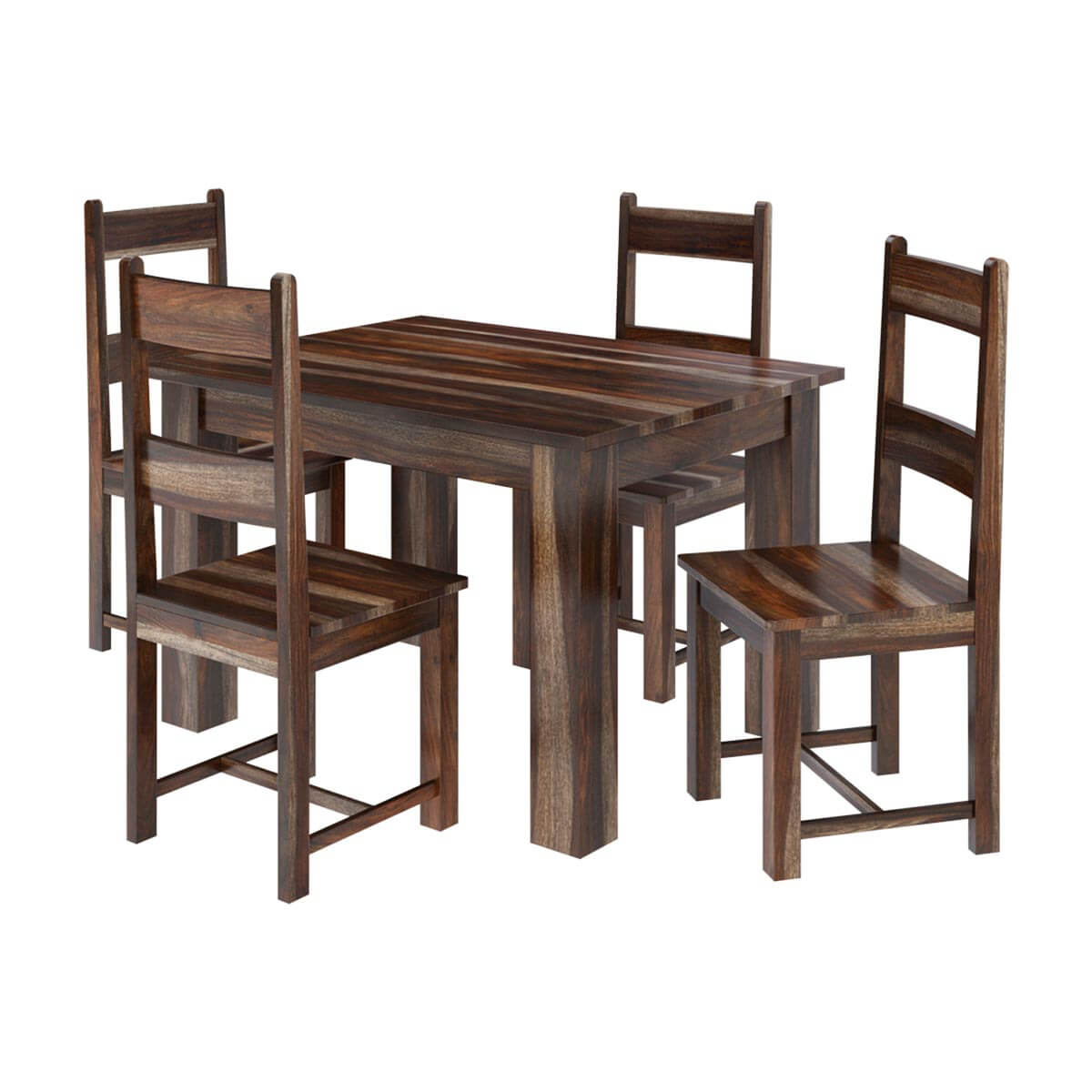Alabama modern rustic solid wood dining table and chair set for Rustic dining table set