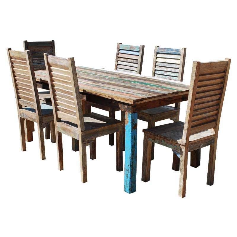 Appalachian 7 Piece Reclaimed Wood Furniture Dining Table U0026 Chair Set