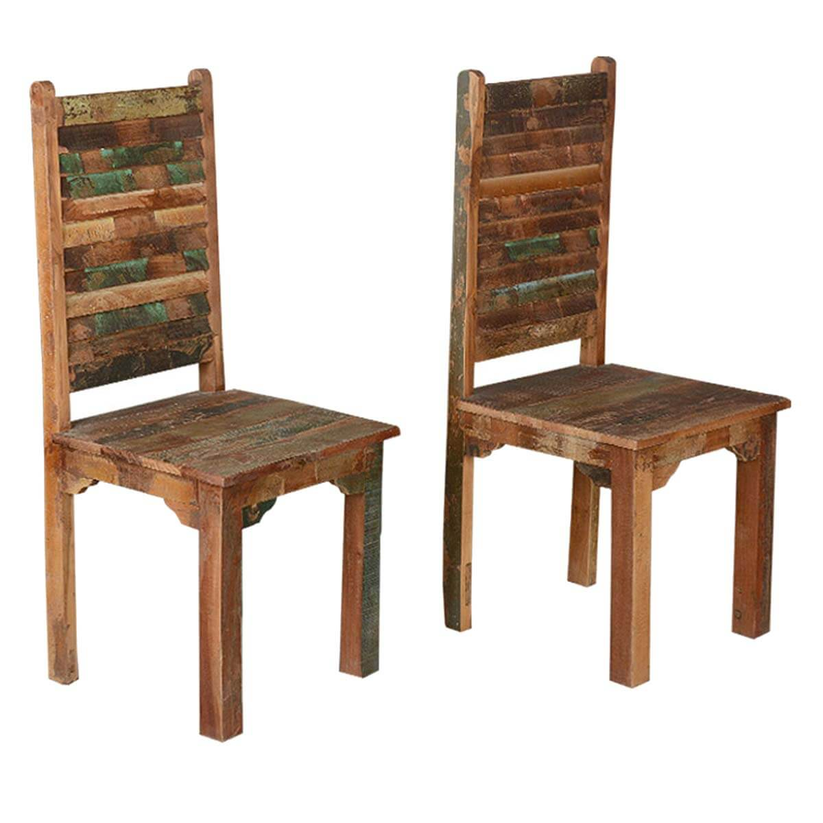 Lovely Rustic Distressed Reclaimed Wood Multi Color Dining Chairs Set Of 2