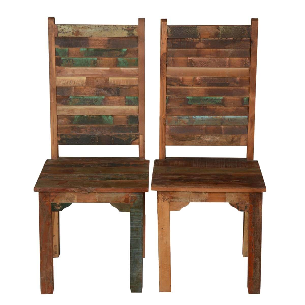 Marvelous Rustic Distressed Reclaimed Wood Multi Color Dining Chairs Set Of 2