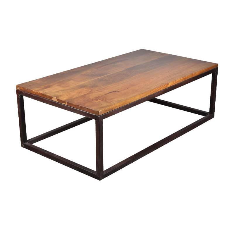 "iron mango wood 52"" long industrial coffee table"