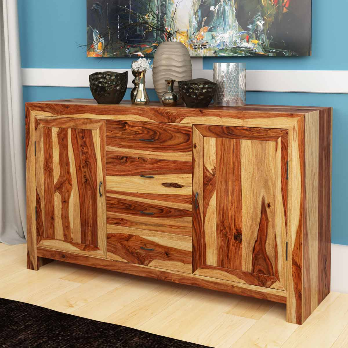 Solid Wood Contemporary Storage Buffet Cabinet Furniture