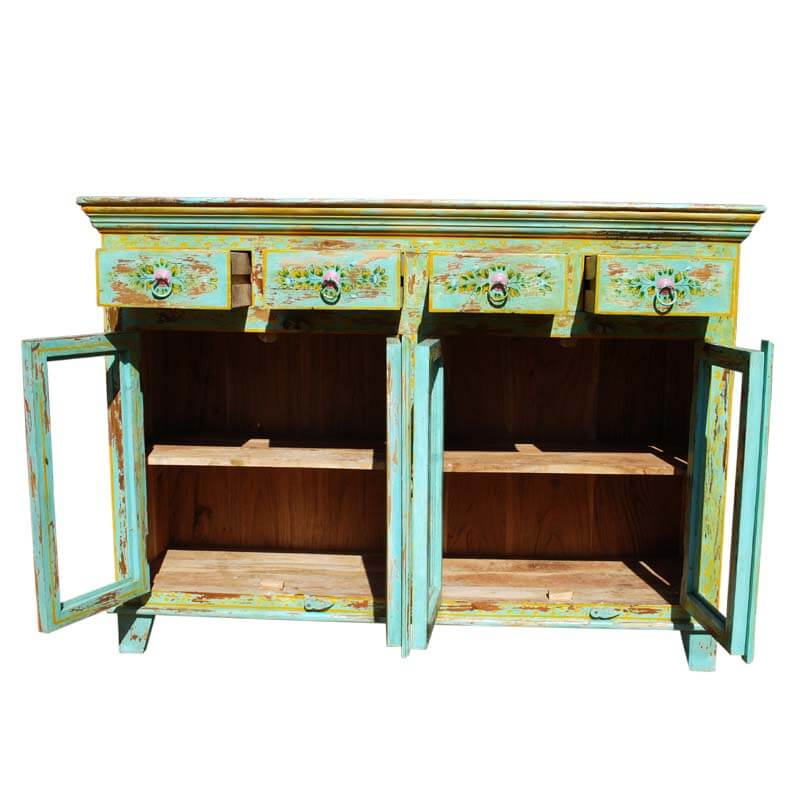 Oklahoma Farmhouse Green Distressed 4 Drawer Kitchen Cabinet