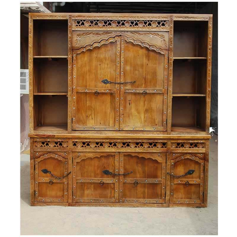 Fresno rustic solid wood hand carved large china hutch cabinet