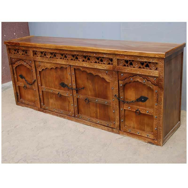 Wooden China Hutch ~ Fresno rustic solid wood hand carved large china hutch cabinet