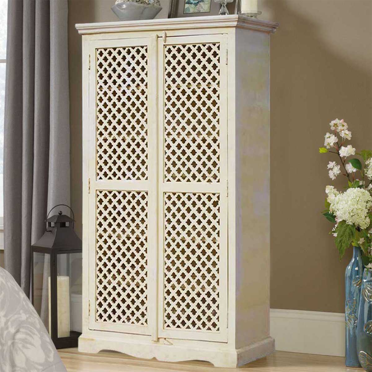 Farmhouse White Hardwood Lattice Door Armoire Wardrobe