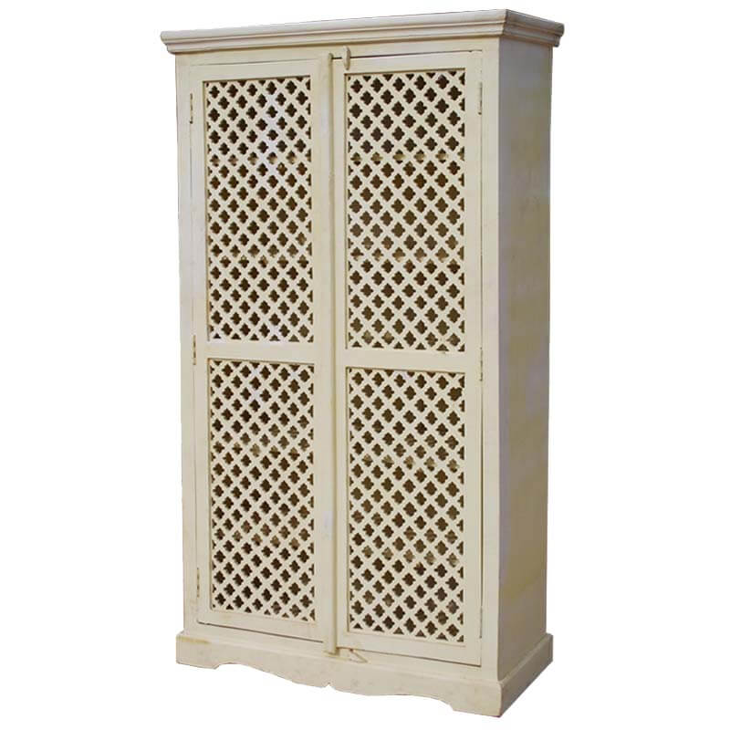 Farmhouse White Solid Wood Lattice Door Armoire