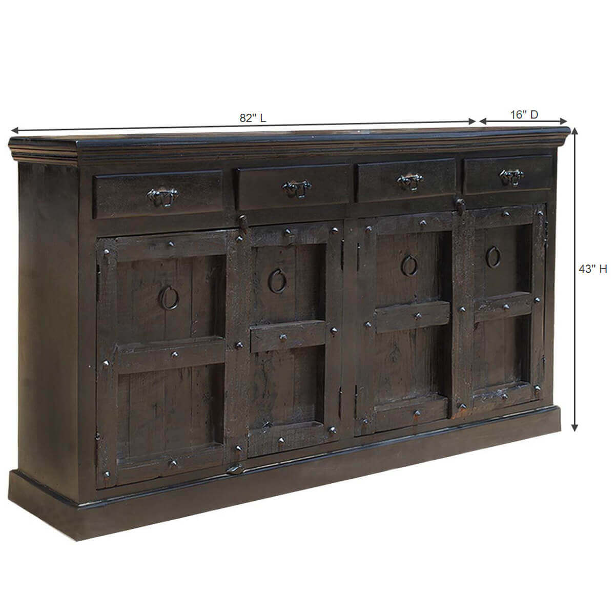 Kansas city solid wood 4 drawer black sideboard for Affordable furniture kansas city