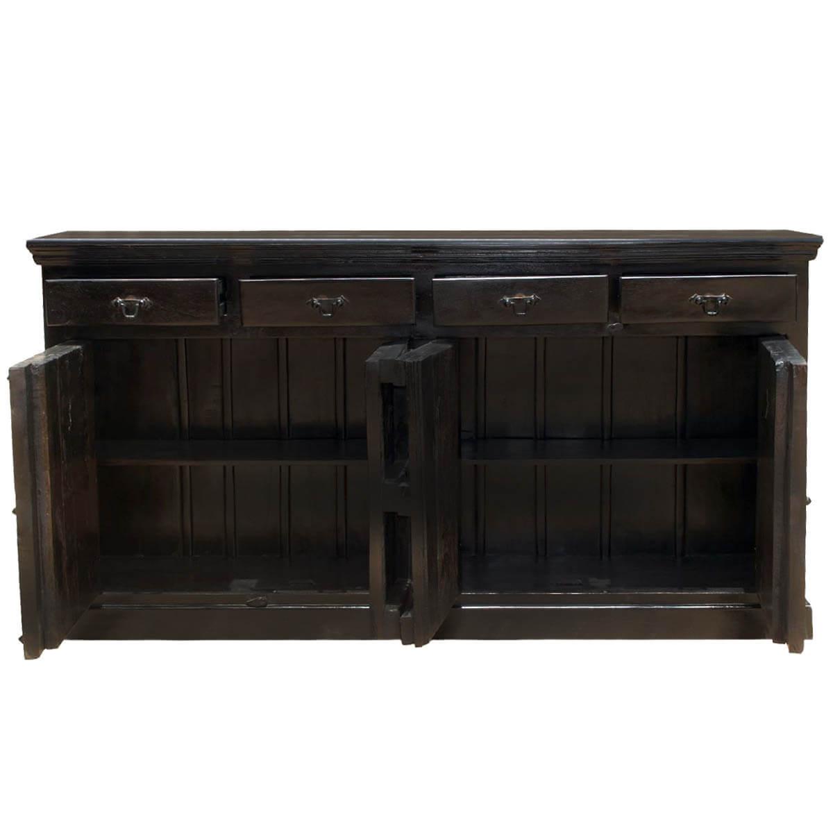Kansas City Solid Wood 4 Drawer Black Sideboard