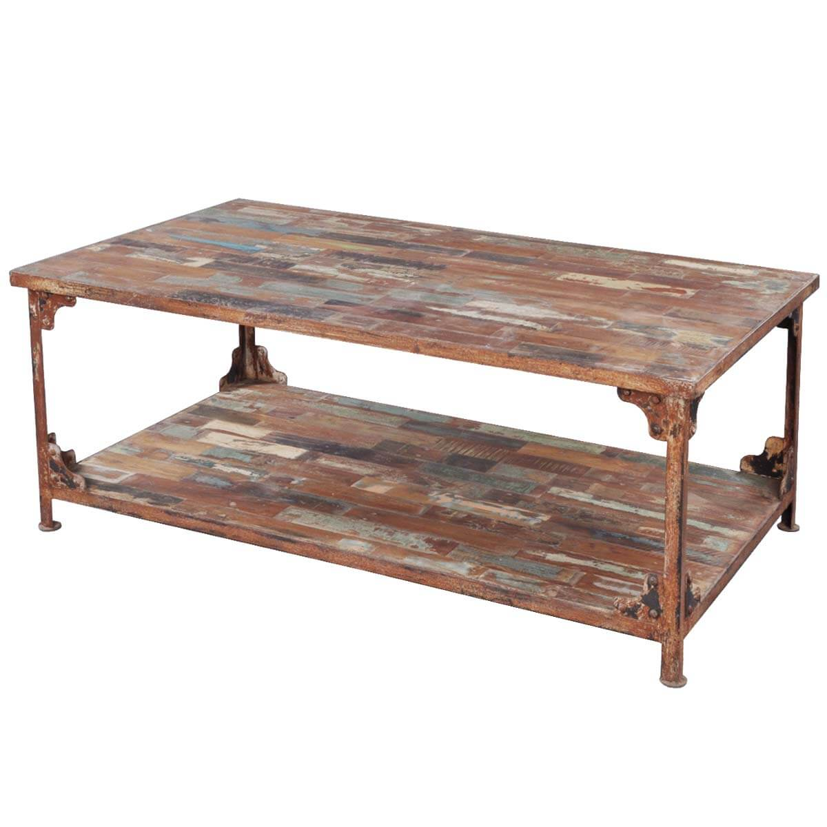 Distressed reclaimed wood industrial wrought iron rustic for Reclaimed coffee table