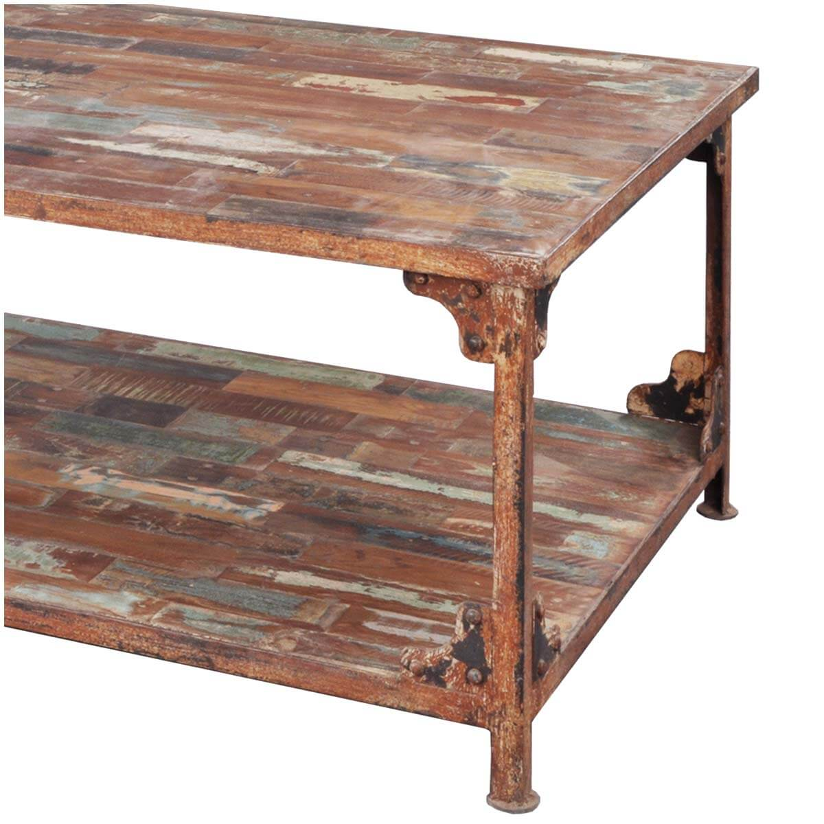 Distressed Reclaimed Wood Wrought Iron Industrial Rustic