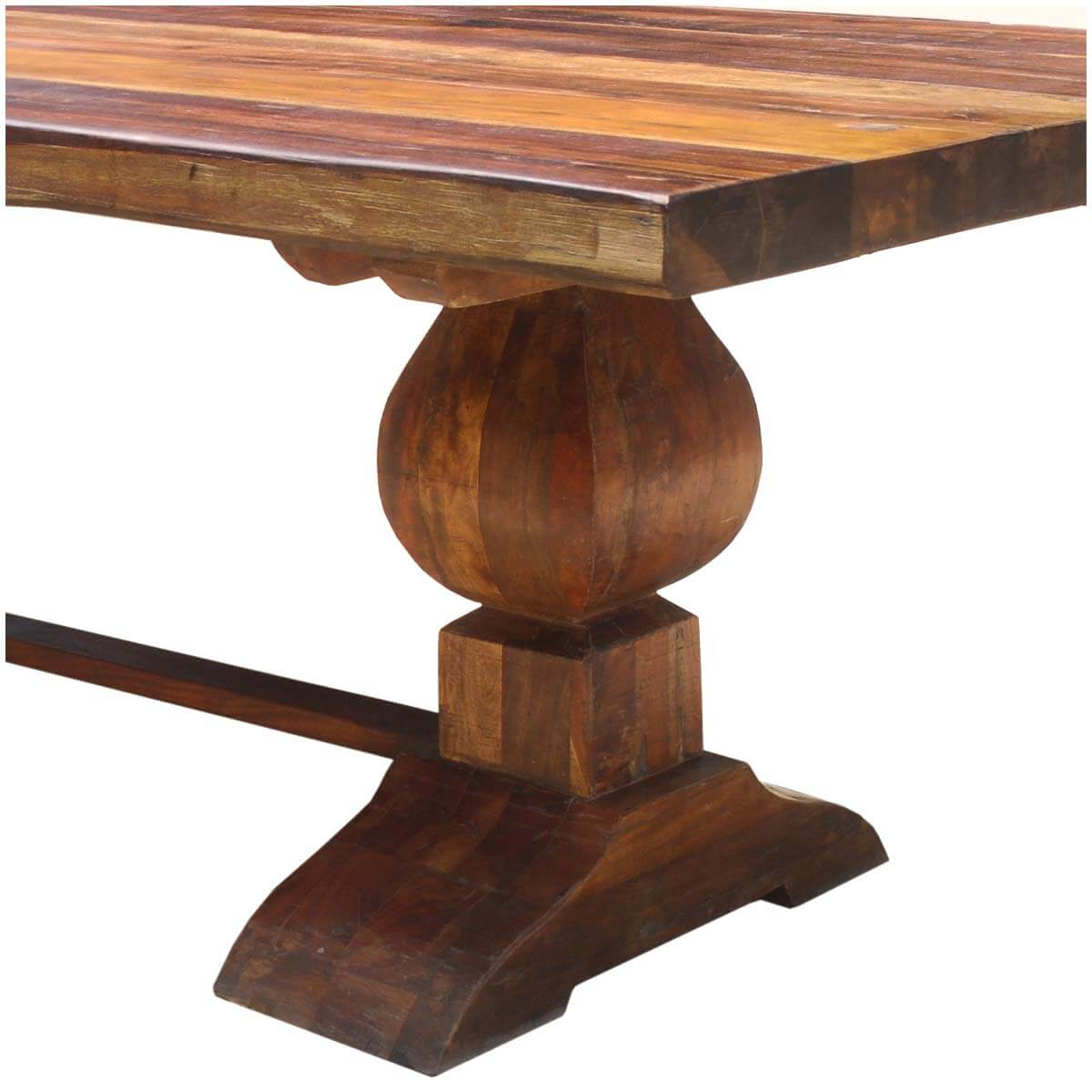 Double Pedestal Dining Room Table: Large Rustic Reclaimed Wood Double Trestle Pedestal Dining