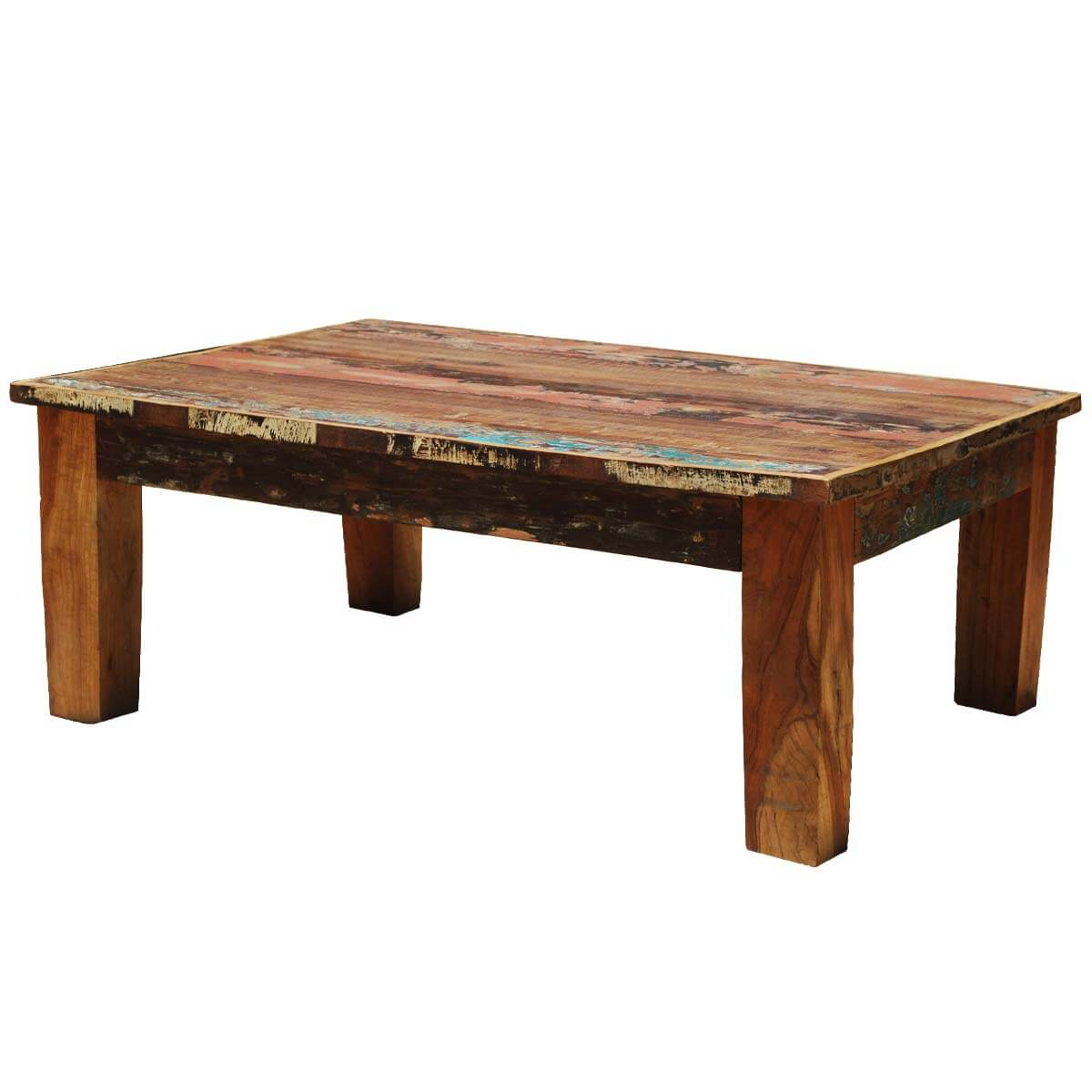 Reclaimed Wood Table ~ Culbertson rustic reclaimed wood rectangle coffee table
