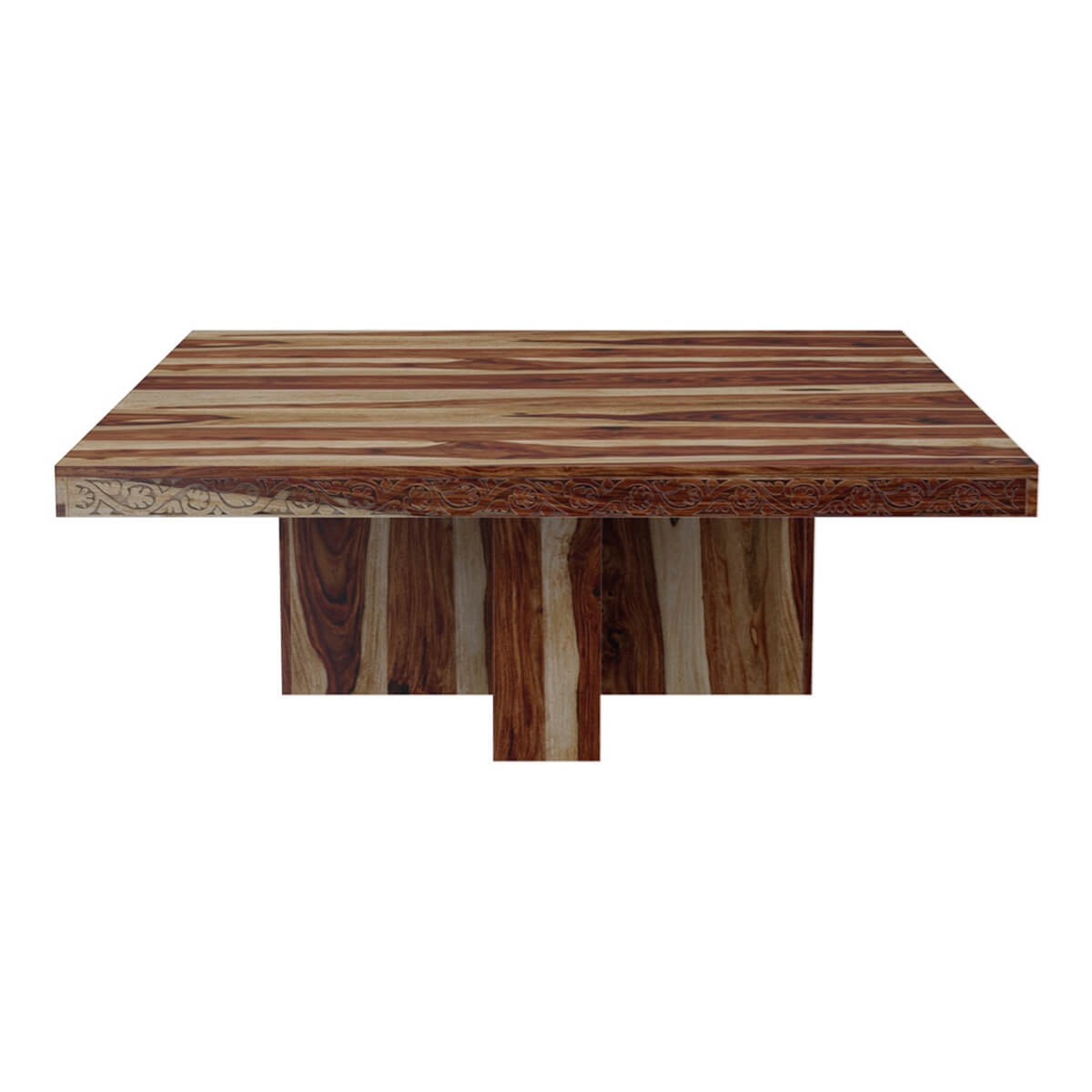 Dallas ranch solid wood pedestal rustic large square for Large dark wood dining table