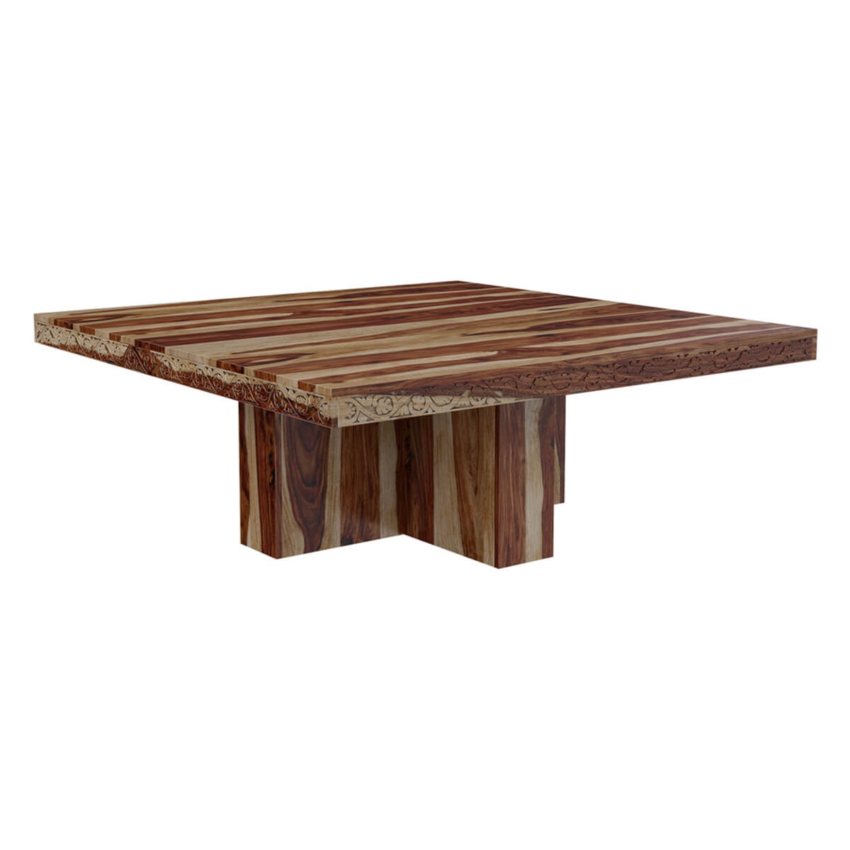 Dallas ranch solid wood pedestal rustic large square for Square dining room table