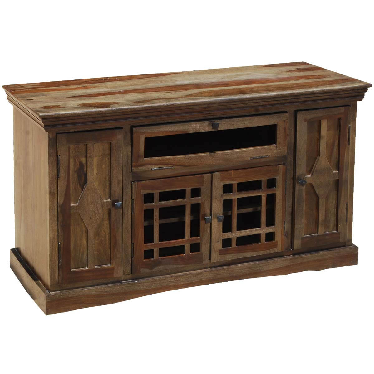 Wood Entertainment Stand ~ Santa fe rustic solid wood tv console cabinet