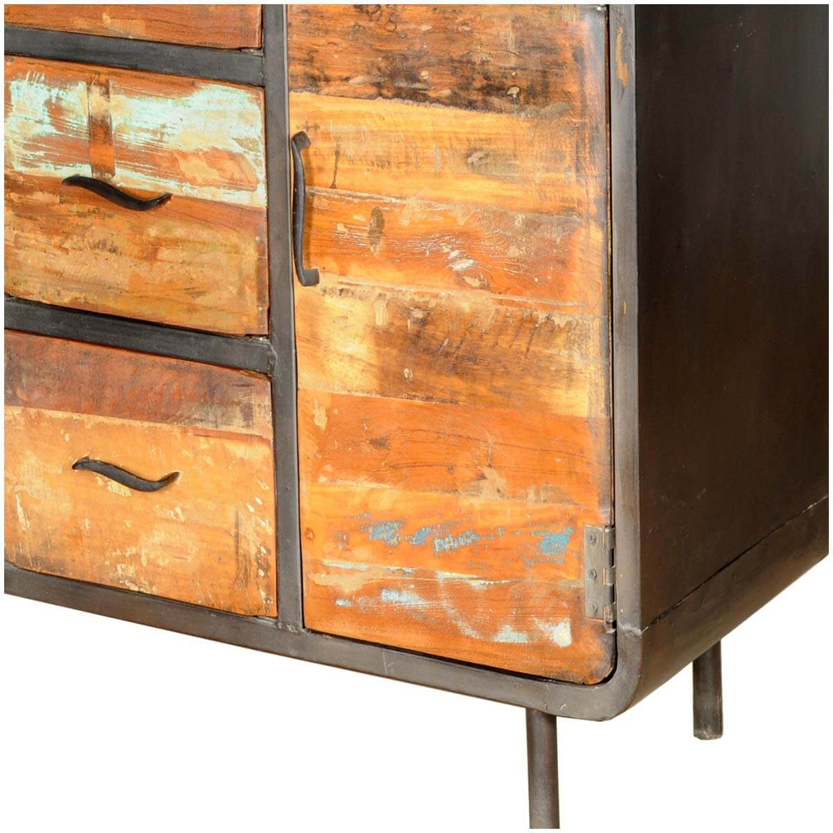 1950s Retro Reclaimed Wood 3 Drawer Industrial Sideboard Cabinet