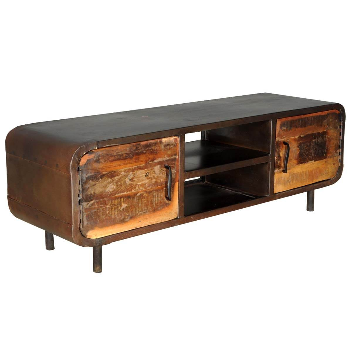 1950's Retro Reclaimed Wood & Iron Media Cabinet & TV Stand