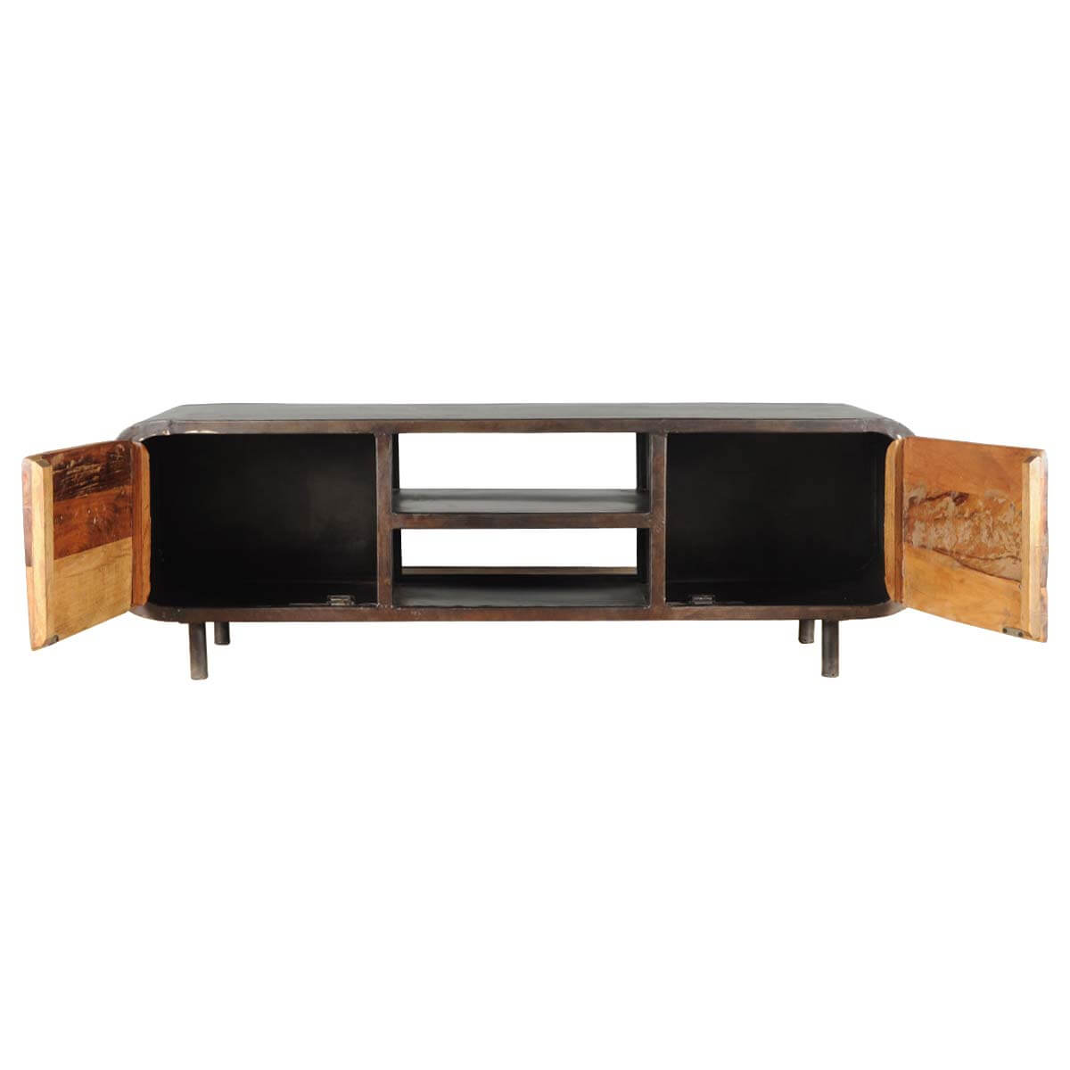 Reclaimed Media Cabinet Reclaimed Wood Iron 1950s Retro Media Console Cabinet