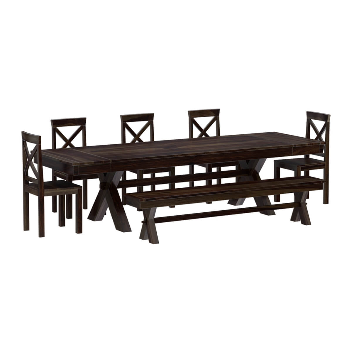 westside indoor picnic style extendable dining table bench set. Black Bedroom Furniture Sets. Home Design Ideas