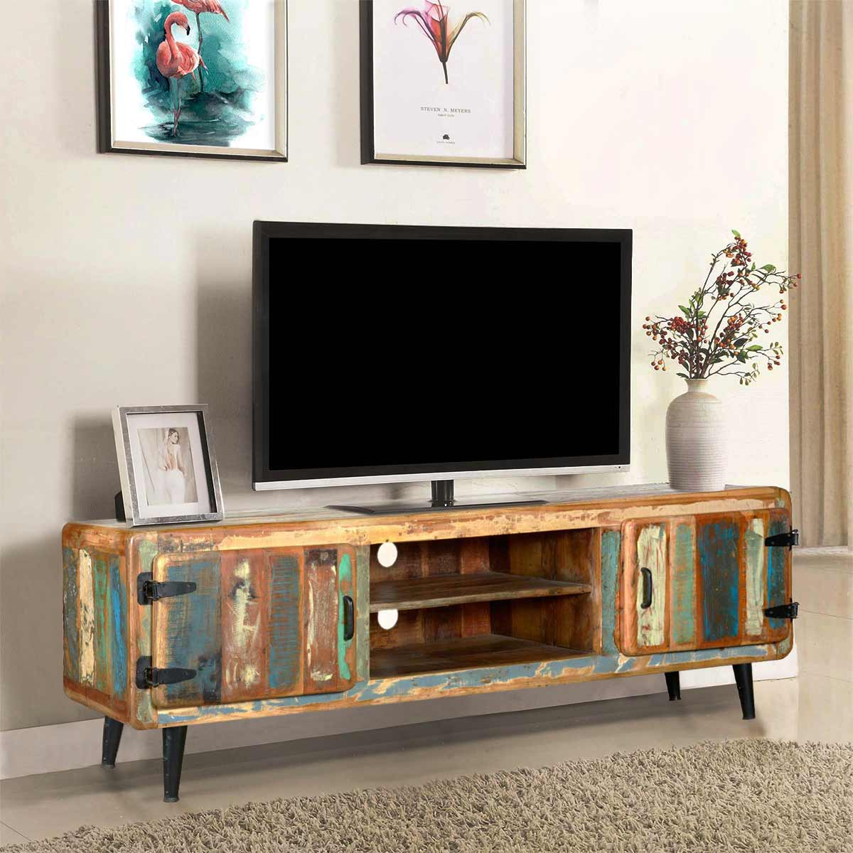 Medway Retro Reclaimed Wood Large Media Console W Center Shelves