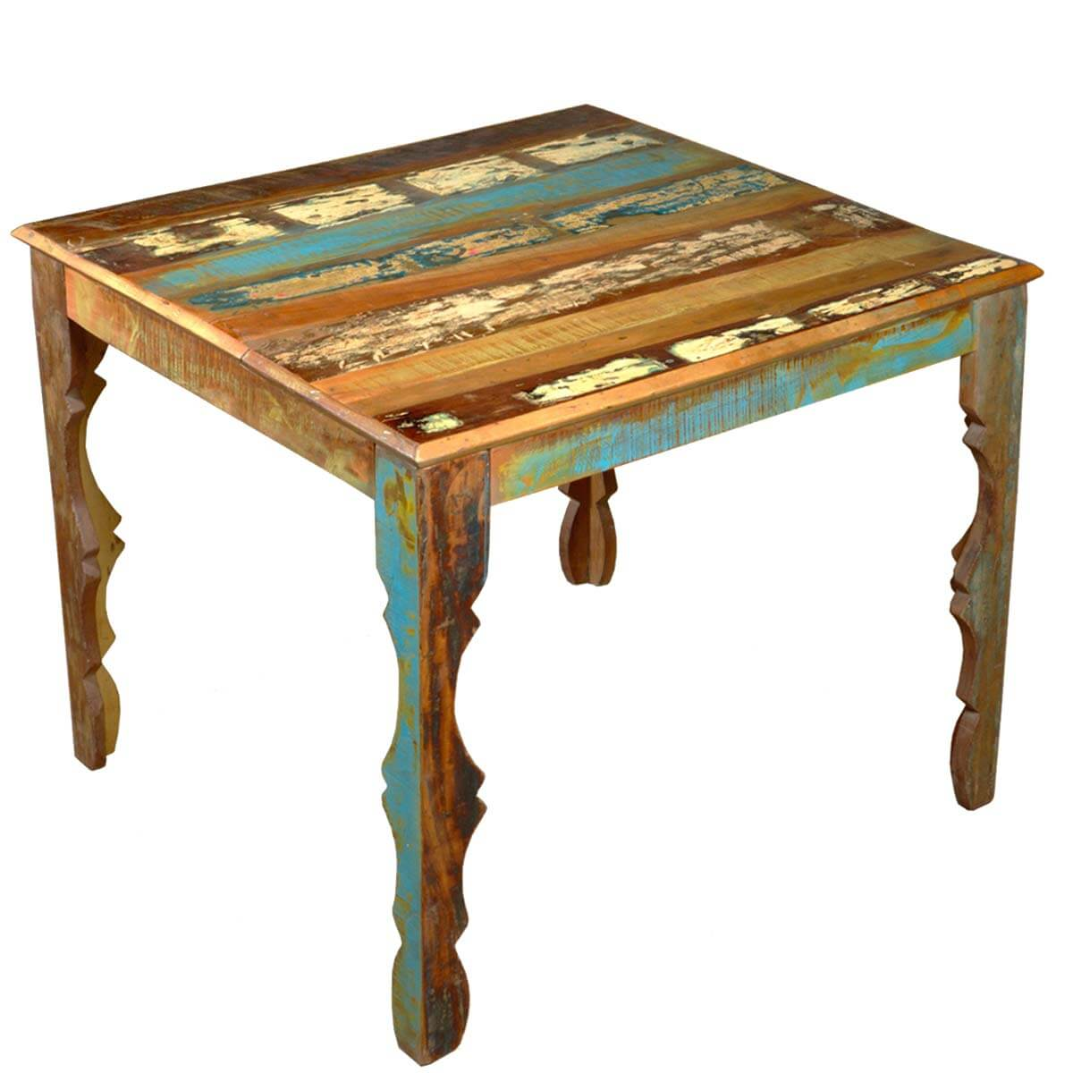 Rustic Reclaimed Wood 36  Square Dining Table w Decorative Legs. Custom Made Large Rustic Dining Tables
