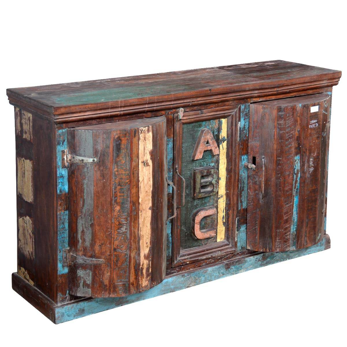 Javon Reclaimed Wood Barrel Door Wine Bar Cabinet