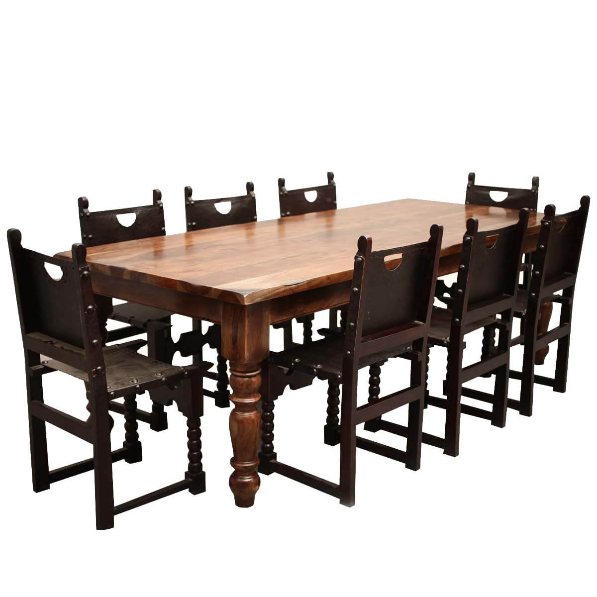 Classic Rustic Acacia U0026 Leather Dining Table Chair Set