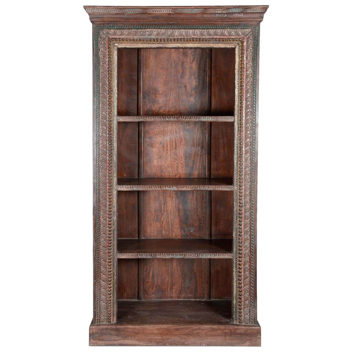 Timber Bookcase: Lincoln Study Hand Carved Old Wood 4-Shelf Open Bookcase