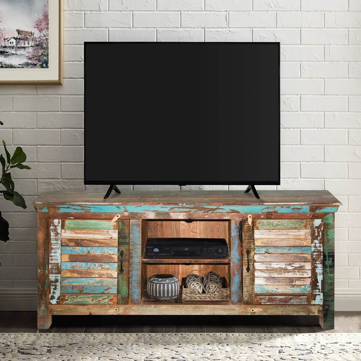 reclaimed wood tv stand Fenwick Rustic Reclaimed Wood Shutter Door TV Stand Media Console reclaimed wood tv stand