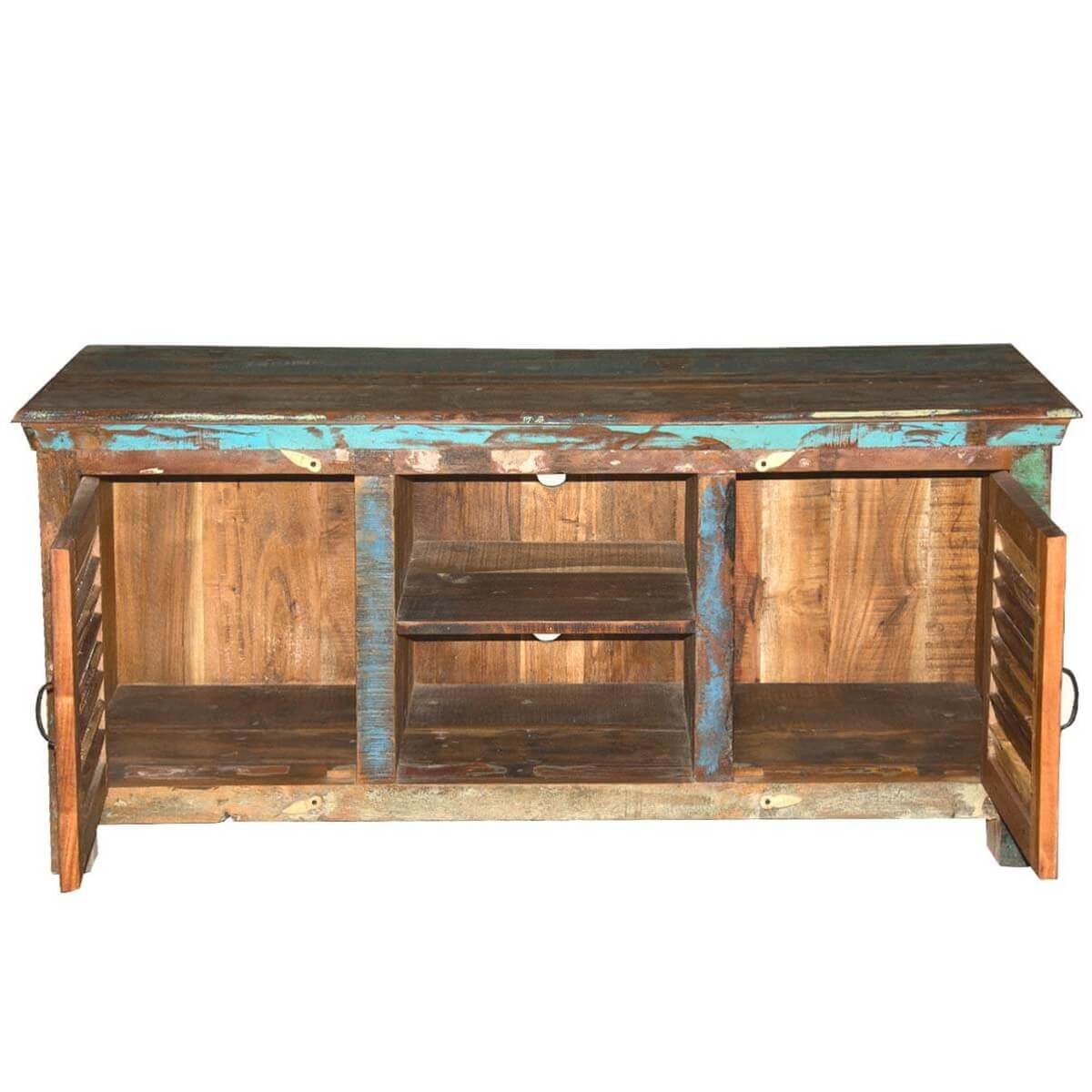 Appalachian Rustic Shutter Doors Reclaimed Wood TV Stand Media Console - Rustic Shutter Doors Reclaimed Wood TV Stand Media Console