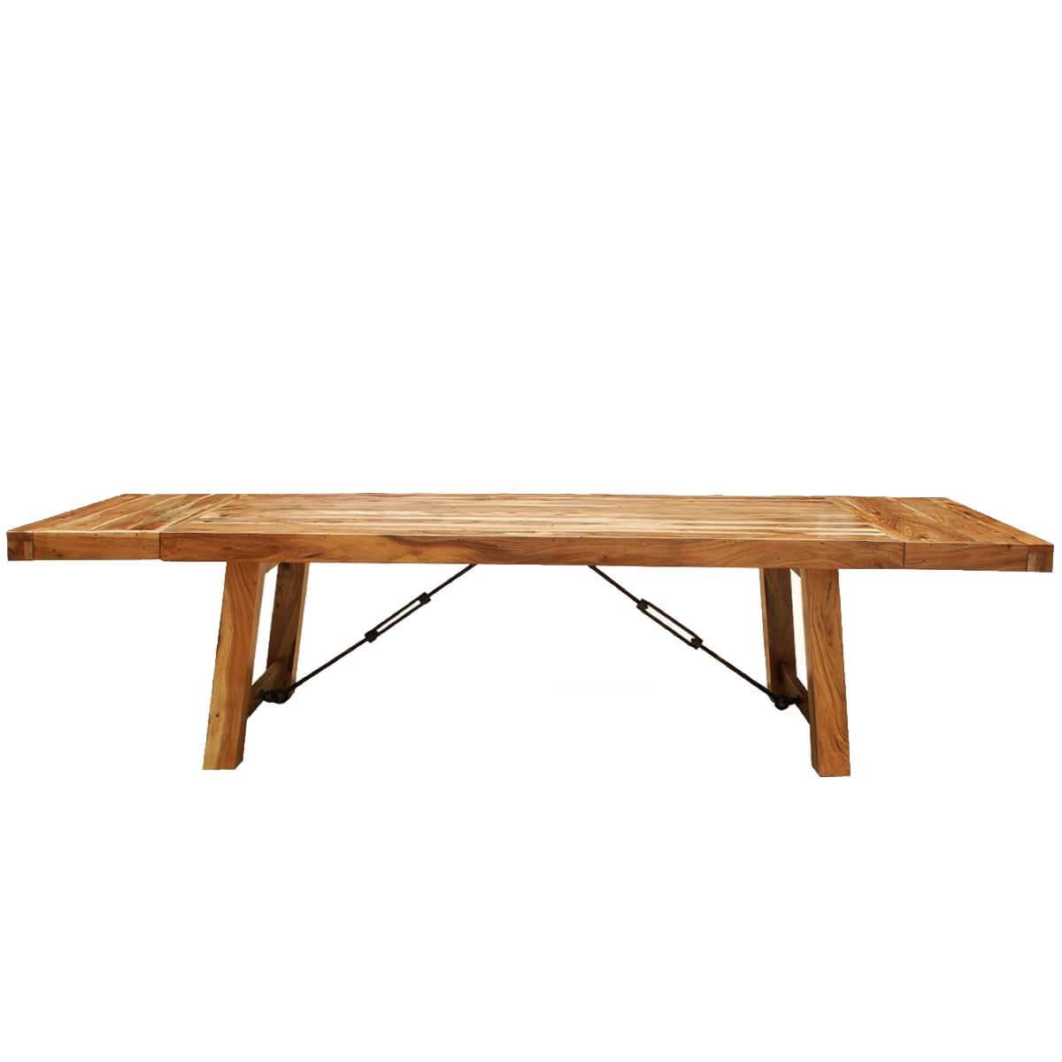 Rustic wood large santa fe dining room table w extensions for Dining room tables with extensions