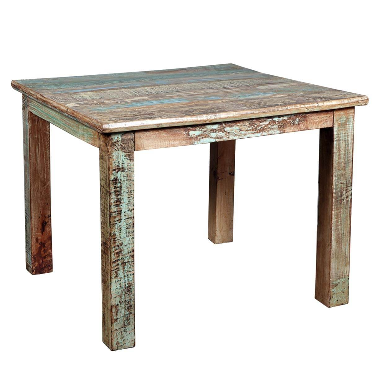 Small Wooden Tables ~ Rustic reclaimed wood distressed small kitchen dining table