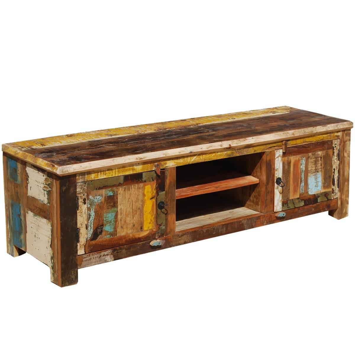 Appalachian rustic old wood double door tv media console