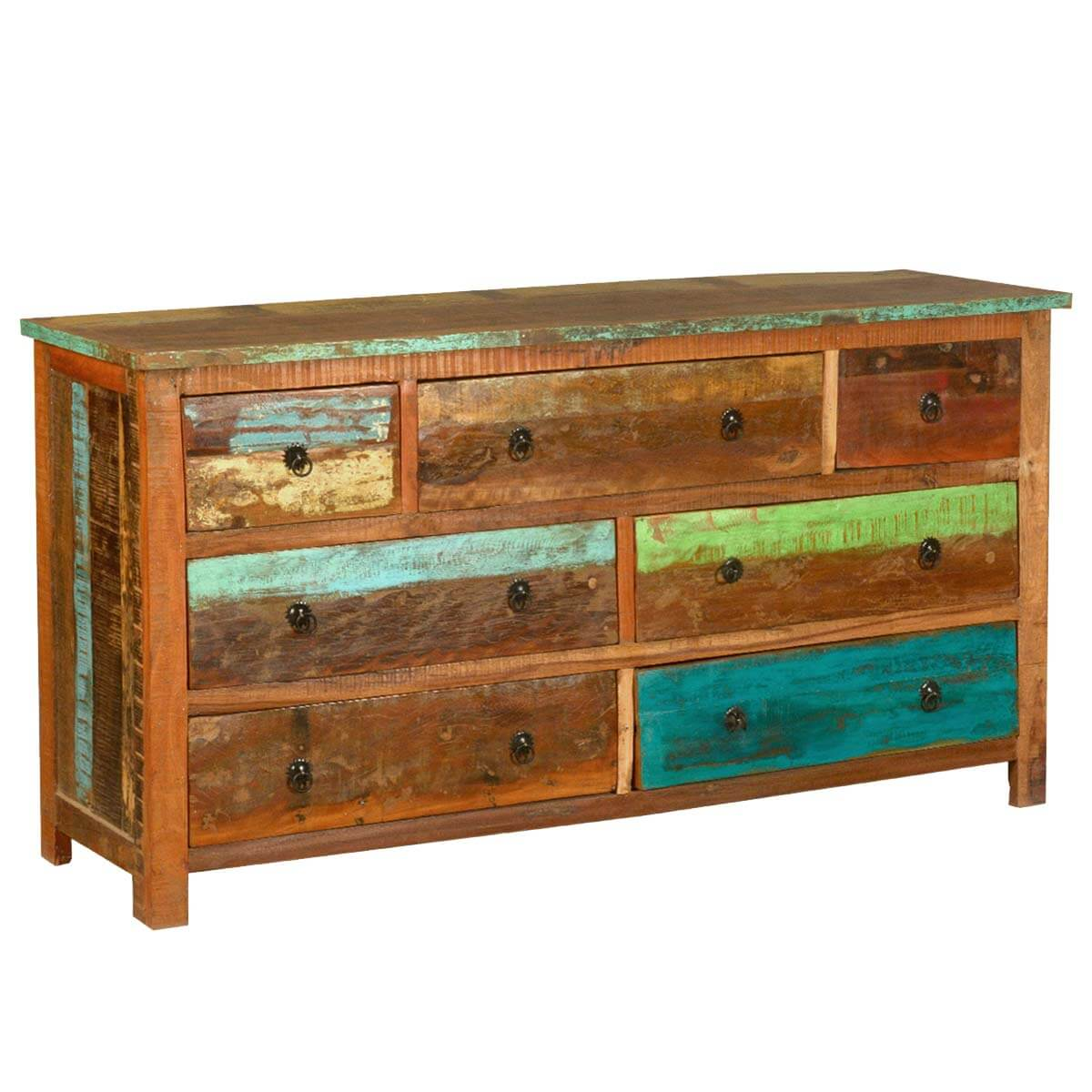 Sierra Rustic Reclaimed Wood Dresser Chest with 7 Drawer - Rustic Reclaimed Wood Dresser Chest With 7 Drawer