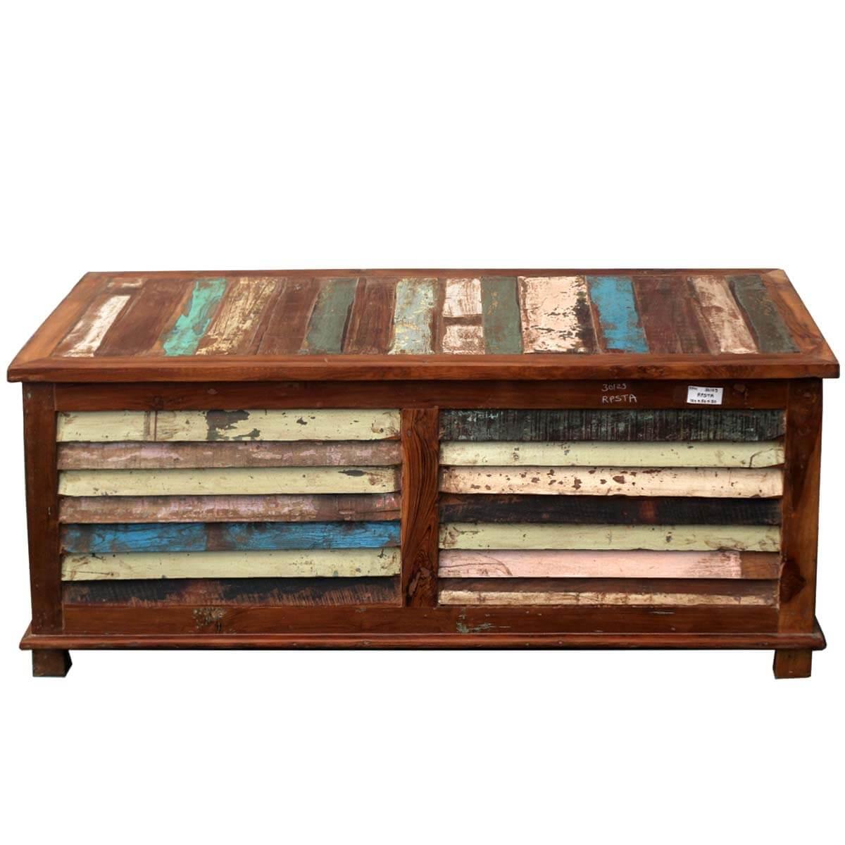 Rustic Reclaimed Wood Multi Color Coffee Table Storage