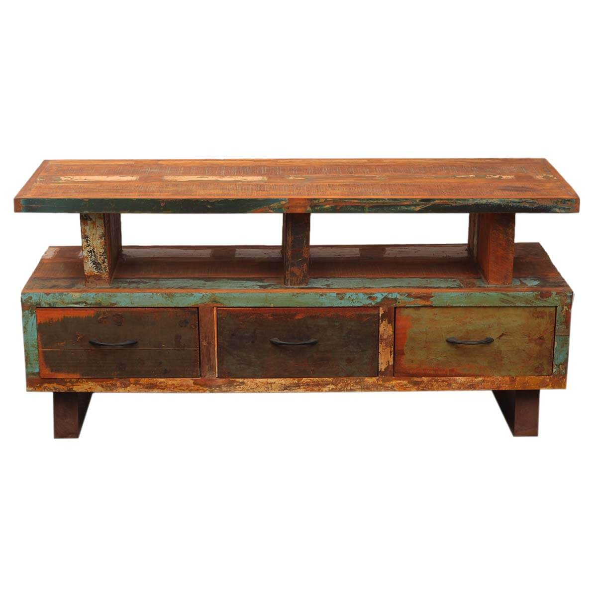 ... Distressed Reclaimed Wood & Iron media console TV stand ... - Industrial Reclaimed Wood & Iron Media Console TV Stand