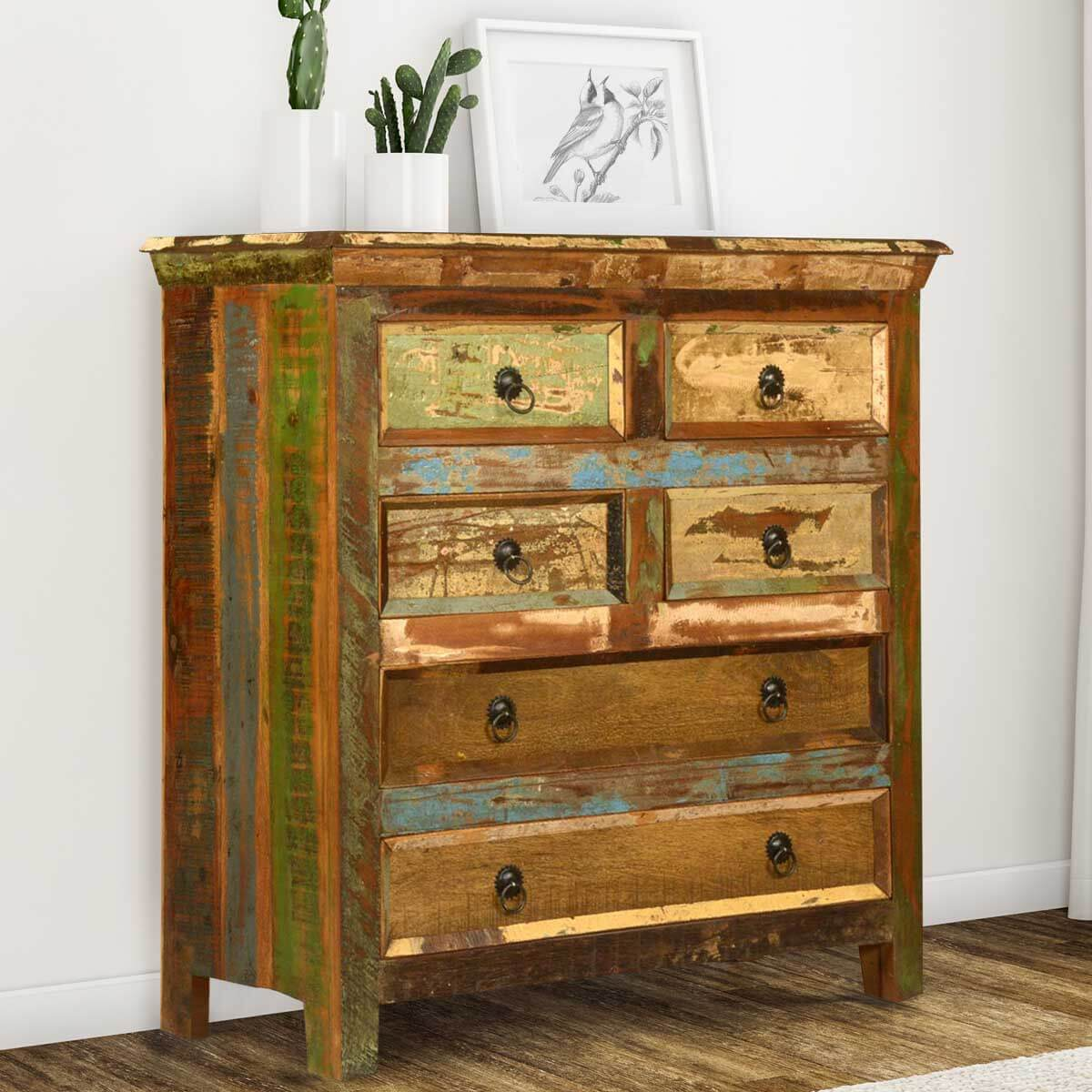 Reclaimed Wood 6 Drawer Bedroom Standard Vertical Chest