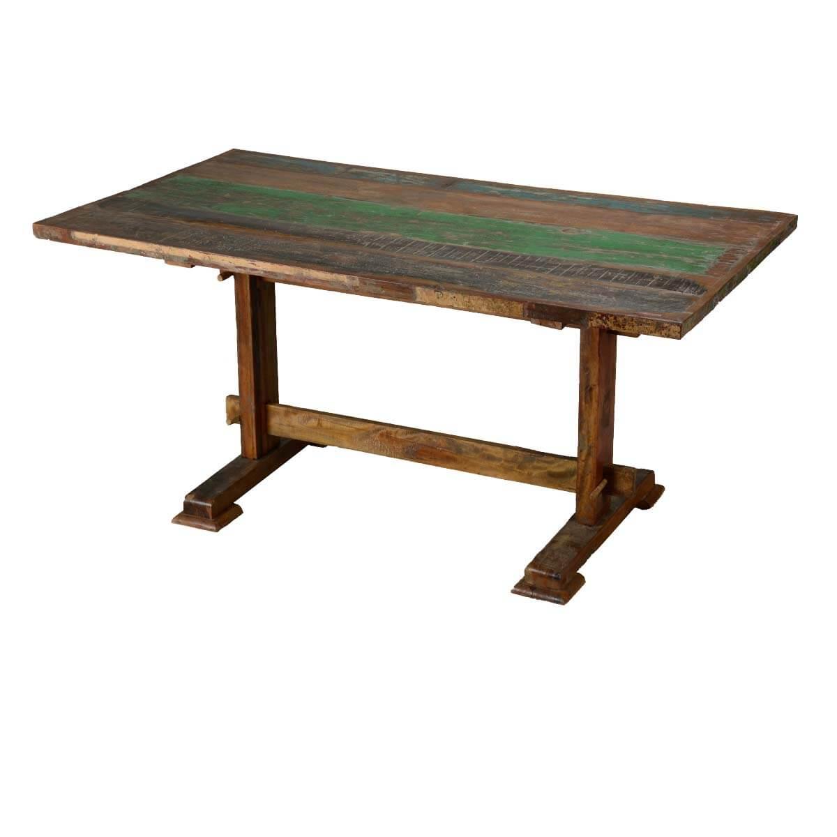 reclaimed hardwood classic trestle pedestal dining table. Black Bedroom Furniture Sets. Home Design Ideas