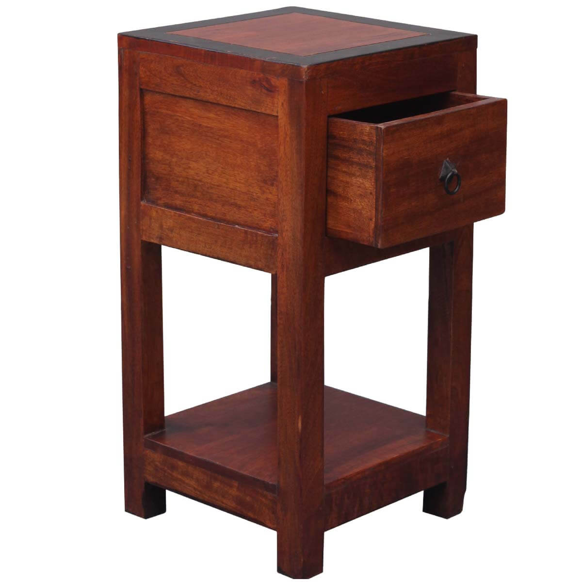 Square 2 tier solid wood nightstand end table w drawer for Wood nightstand with drawers