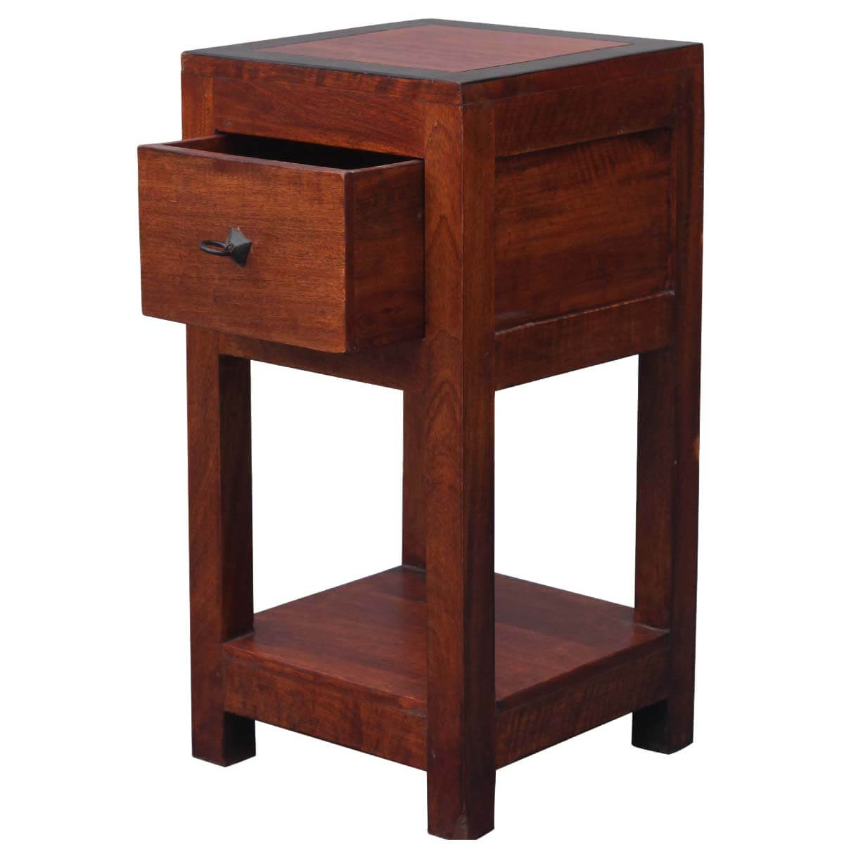 Industrial Style Solid Wood Square Storage Trunk 5 Drawer: Square 2-Tier Solid Wood Nightstand End Table W Drawer