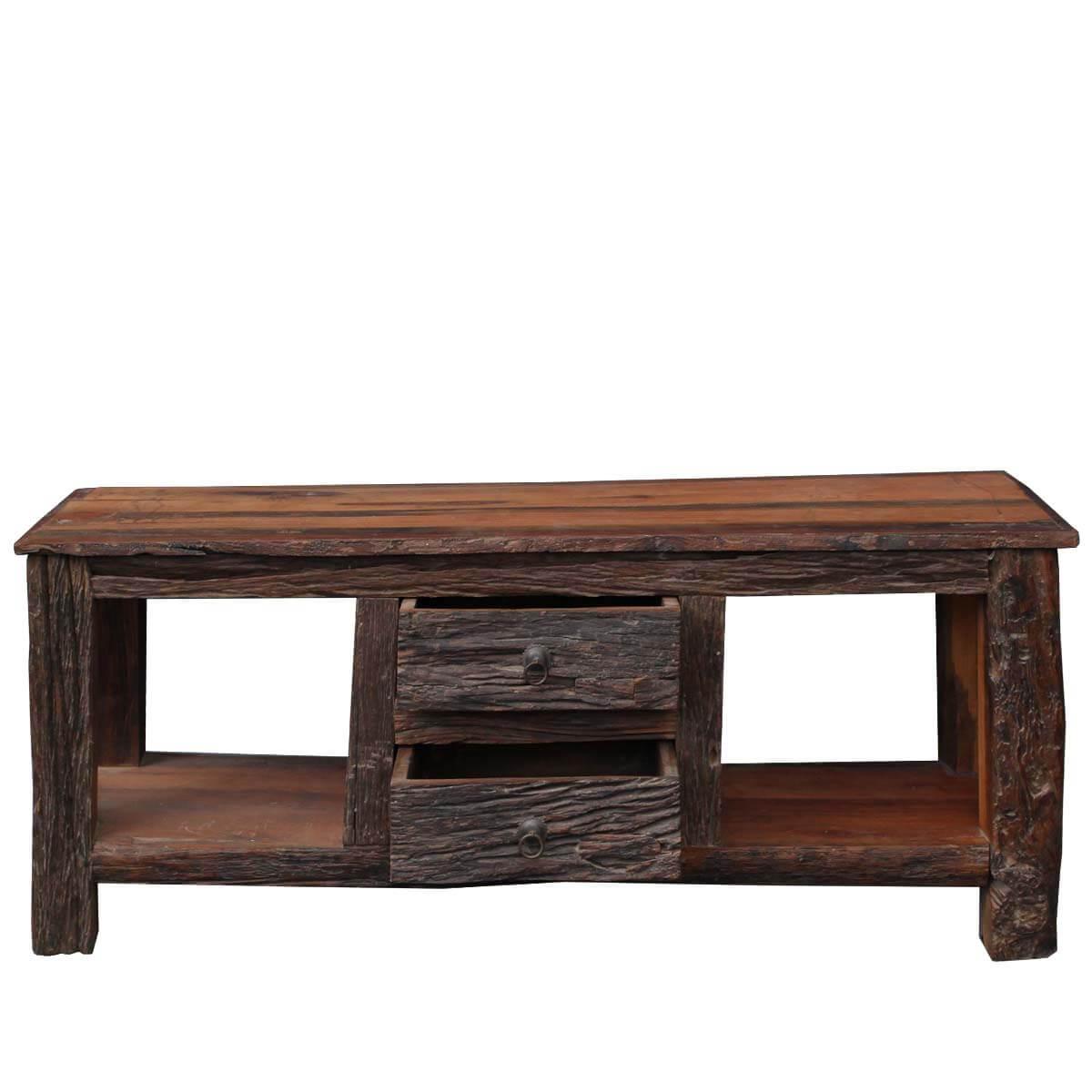 ... Rustic Bark Railraod Reclaimed Flat Screen Wood TV Stand Media Console  Table ... - Rustic Bark Railraod Reclaimed Wood Media Stand Console Table