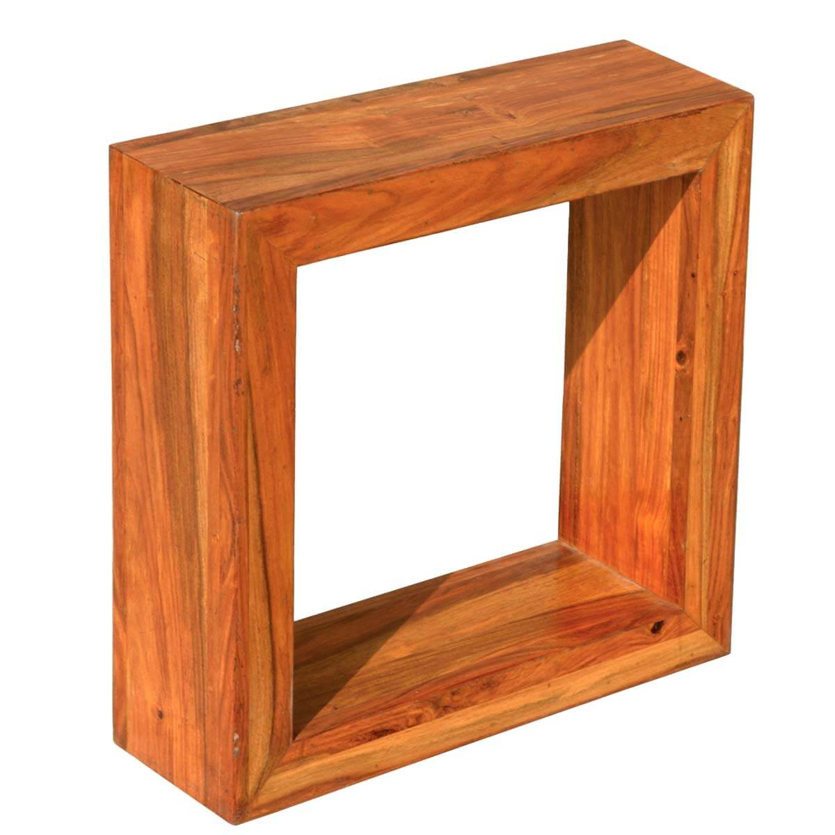 18 solid wood open back display small side table for Small wood end table