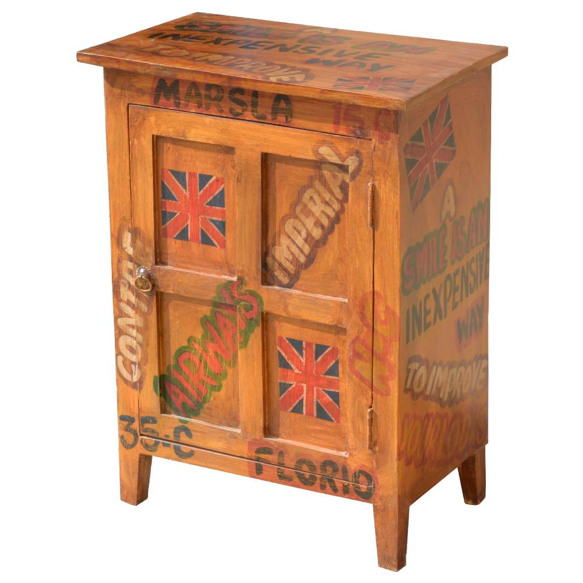 Awesome Pop Art Shipping Labels Mango Wood End Table Cabinet